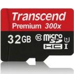 Карта памяти Transcend MicroSDHC 32GB Class10 UHS-I 300x (с SD-адаптером)